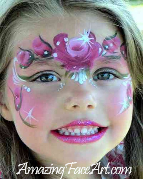 rose princess crown face painting CT