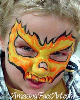 flaming skull face painting CT