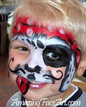 pirate puppy face painting for birthday parties