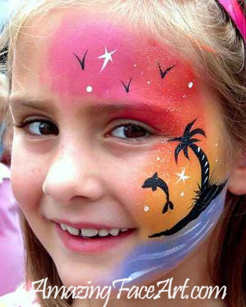 sunset face painting CT