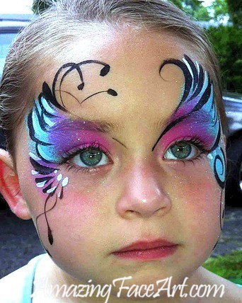 016-Pink and Blue Face Painting