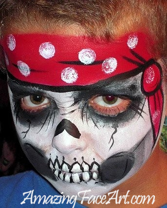 skull pirate face painting CT