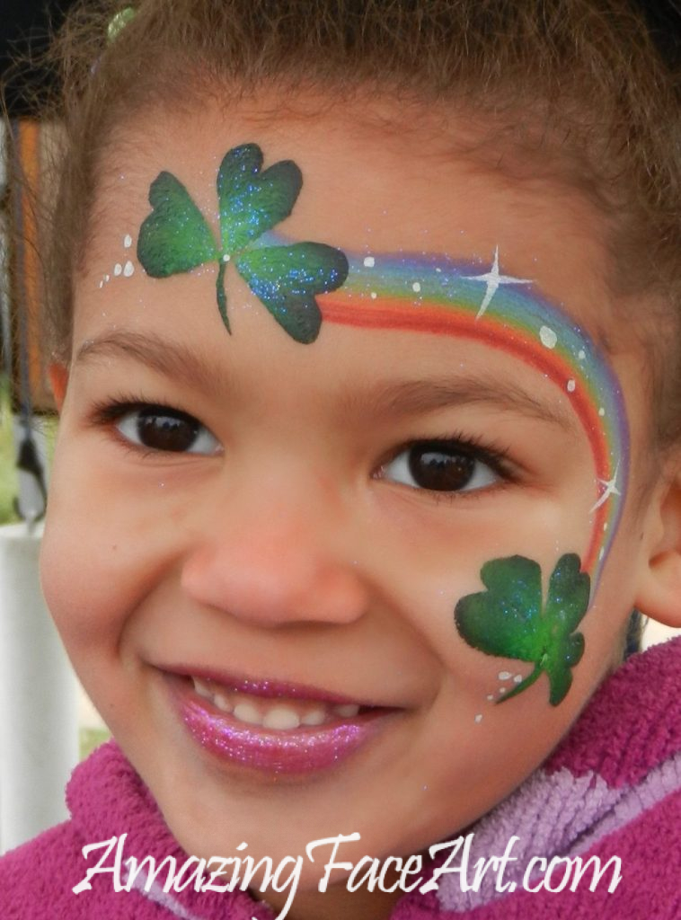 shamrock rainbow face painting